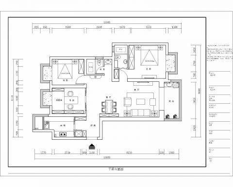 南京世茂外滩新城140平米田园风格户型图