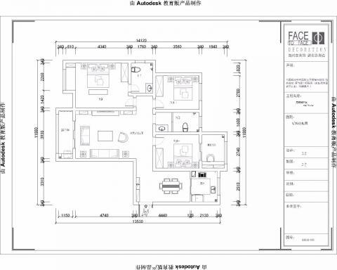 郑州正商城129平米欧式风格户型图