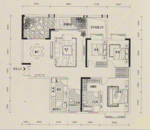 西安锦园小区125平米简欧风格户型图