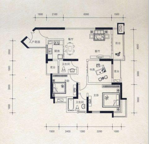 西安绿地世界城110平米简欧风格户型图