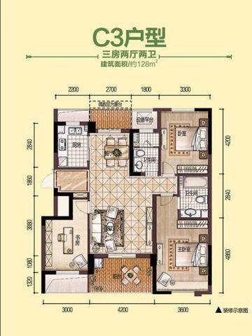 杭州方正荷塘月色300平米美式风格户型图