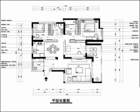 杭州嘉泰馨庭90平米简约风格户型图