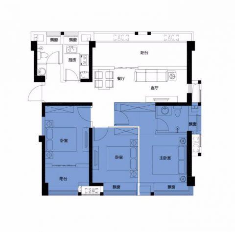 福州正荣财富中心110平米美式风格户型图