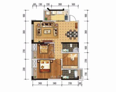 成都绿地城88平米现代简约风格户型图