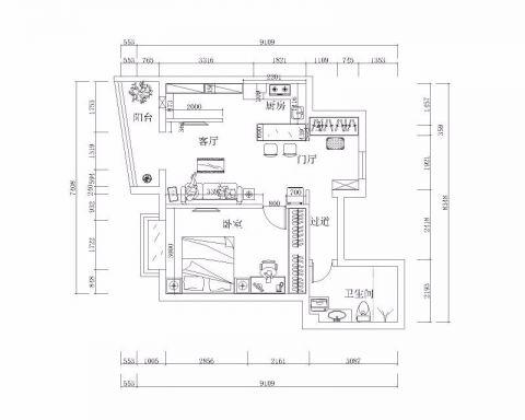北京燕城苑90平米现代简约风格户型图