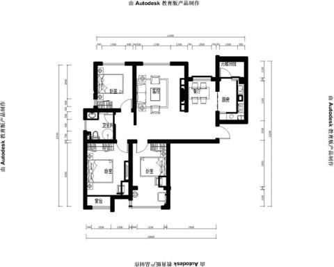 烟台建城丽都111平米现代风格户型图