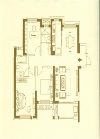 福州阳光凡尔赛宫89平米北欧风格户型图