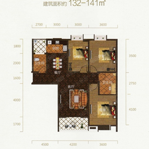 武汉二七新电江岸生活广场132平米混搭风格户型图