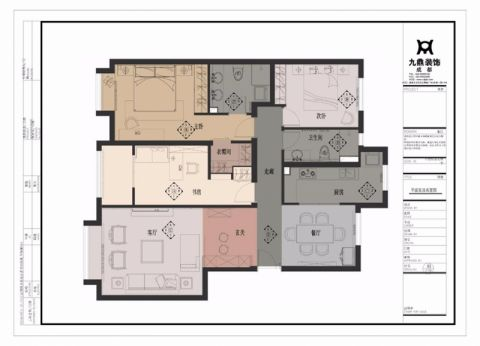 成都博瑞都市花园120平米新中式风格户型图