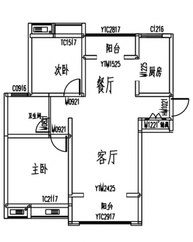 徐州雍福上城106平米新中式风格户型图
