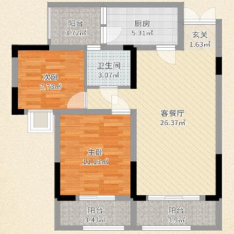 重庆渝开发格莱美城80.7平米现代简约风格户型图