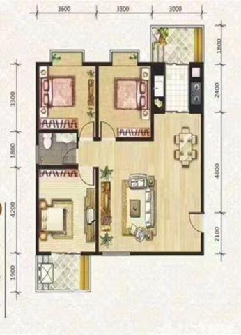 西安玫瑰公馆115平米欧式风格户型图