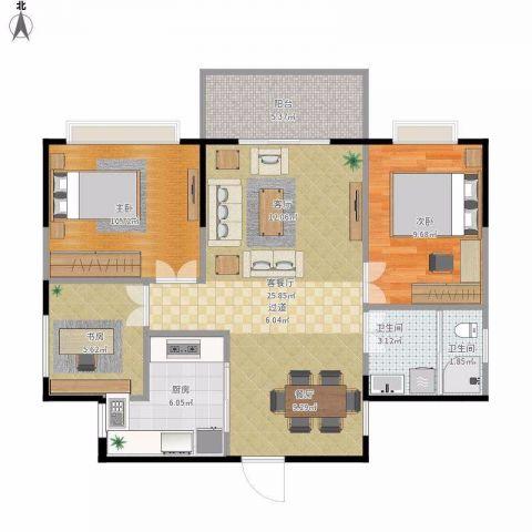 东莞花香十二院120平米新中式风格户型图