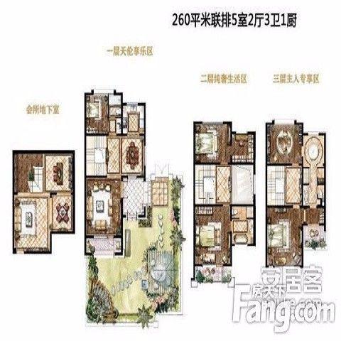 深圳前海湖山壹号300平米中式风格户型图