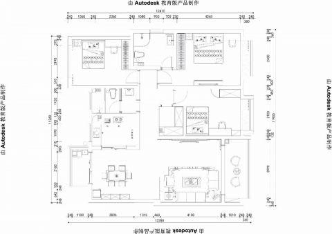 郑州雅居乐140平米现代简约风格户型图