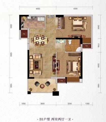 武汉长投珑庭80平米北欧风格户型图
