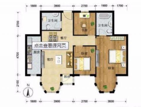 佛山尚悦名都88平米现代简约风格户型图