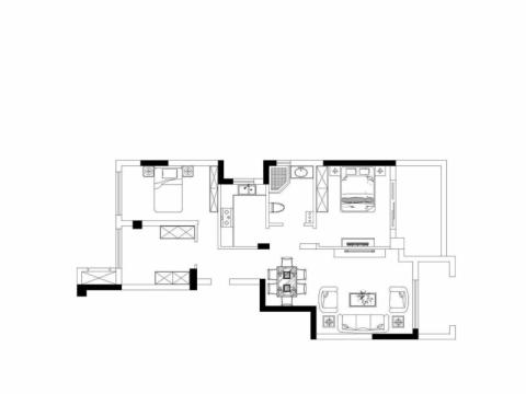 无锡天元世家128平米现代简约风格户型图