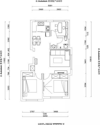 烟台山居郦城88平米现代风格户型图