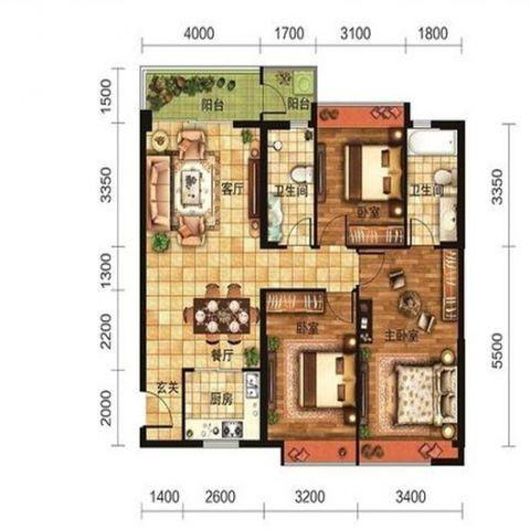 大理汇丰瑞城124平米新中式风格户型图