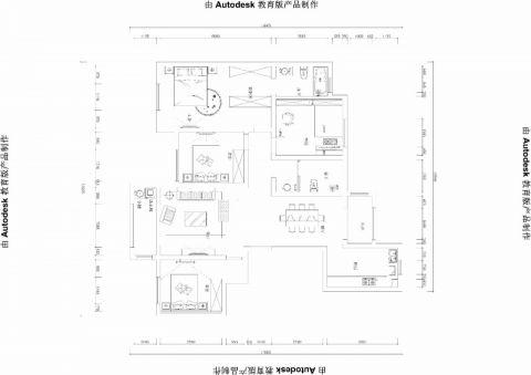 郑州普罗旺世龙之梦160平米新中式风格户型图