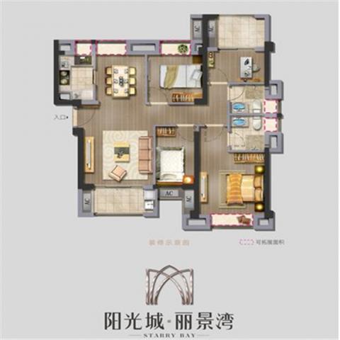 福州阳光城丽景湾56平米美式风格户型图