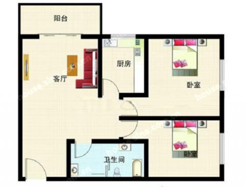 佛山紫荆楼85平米简欧风格户型图
