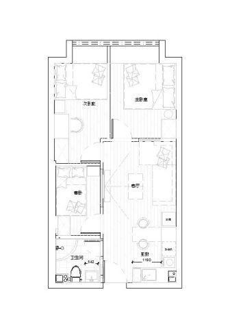 上海三迪曼哈顿63平米北欧风格户型图