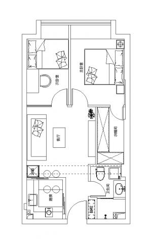上海三迪曼哈顿58平米简约风格户型图