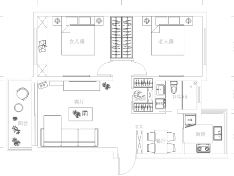 上海天乐小区70平米简约风格户型图