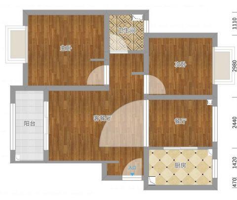 上海泗泾新苑89平米美式风格户型图