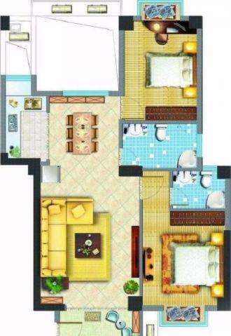 佛山旭景豪庭98平米简约风格户型图