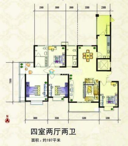 洛阳紫金风景线211平米欧式风格户型图