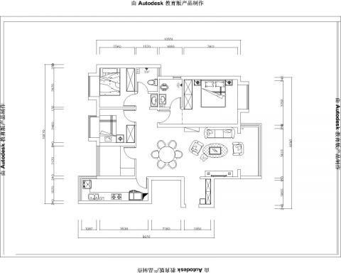 贵阳北大资源缤纷广场120平米混搭风格户型图