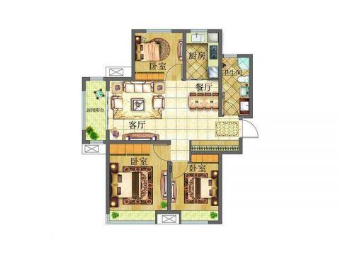 九江九龙街德晟豪庭100平米现代简约风格户型图