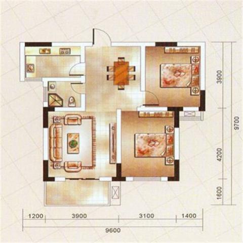 九江华宝豪庭80平米混搭风格户型图