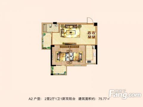 武汉汉口印象75平米美式风格户型图