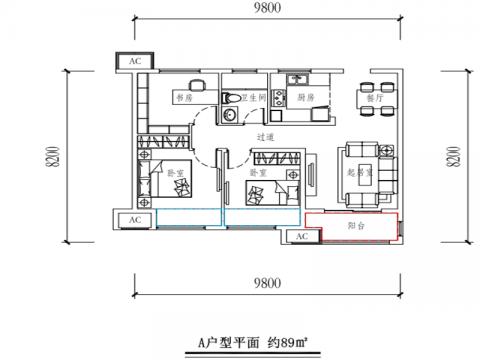 无锡中海珑玺89平米美式风格户型图