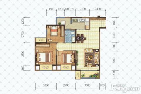 重庆玖城壹号102平米美式风格户型图