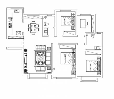 济南保利华庭123平米简中风格户型图