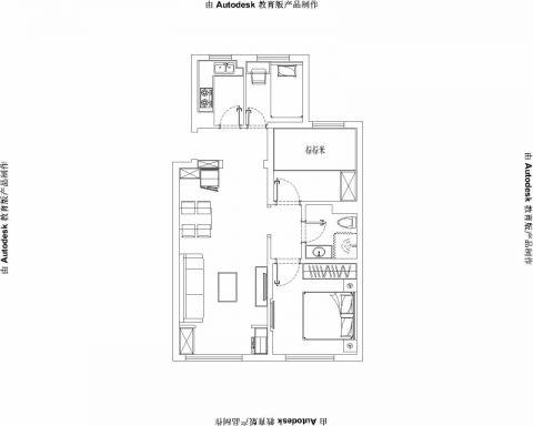 青岛保利茉莉公馆88平米美式风格户型图