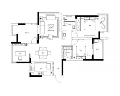 常州蓝天新苑110平米北欧风格户型图