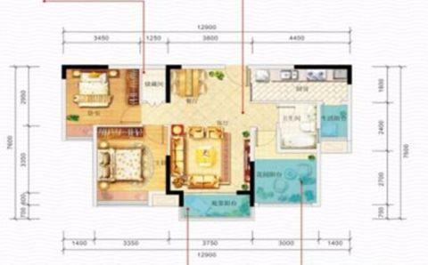 重庆佳兆业滨江新城101平米地中海风格户型图