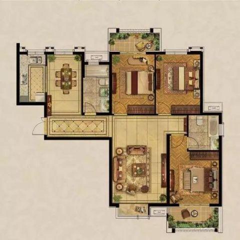 洛阳升龙广场139平米新古典风格户型图