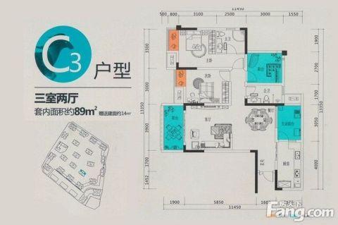 重庆鲁能领秀城89平米现代简约风格户型图