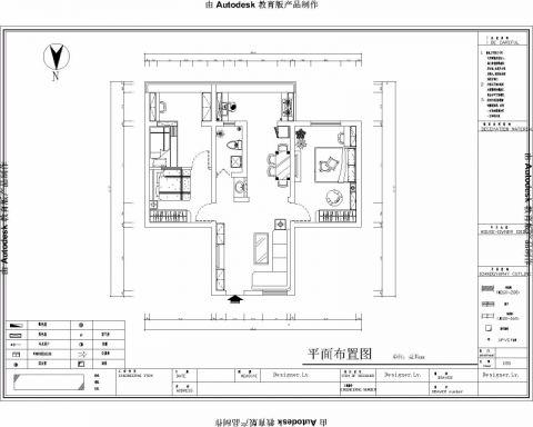 济南万盛园小区60平米混搭风格户型图