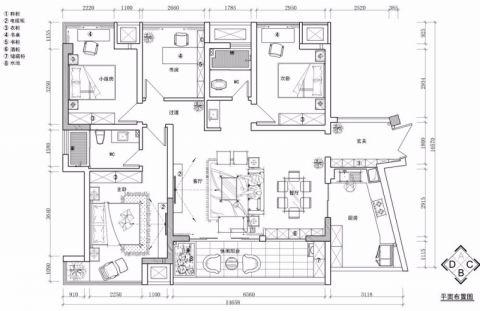 长沙通用时代143平米新古典风格户型图