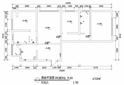 昆明实力壹方城120平米简约风格户型图