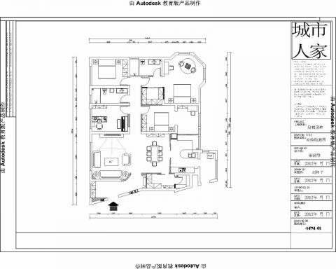 烟台鼎城国翠200平米美式风格户型图