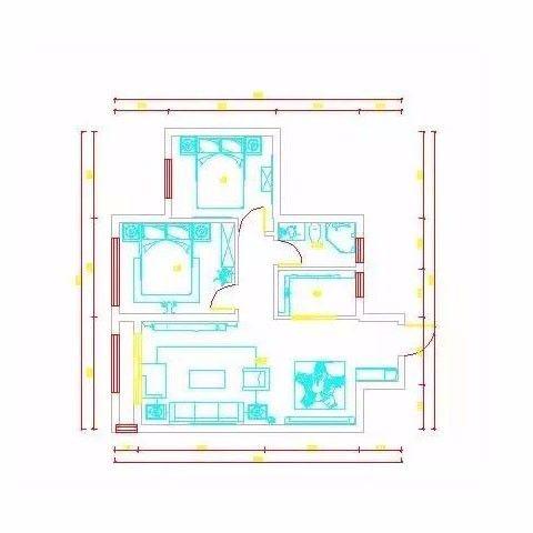 烟台万光中央公园88平米简欧风格户型图